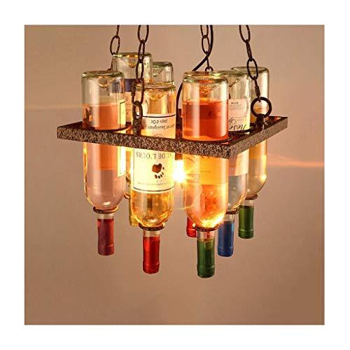 Yxx max Pendant Lights Vintage Industrial Style Nostalgic Chandelier Wrought Iron - Wine Bottle Loft Restaurant Bar Cafe Chandelier E27 Indoor Hanging Lights (Size : 31cm)