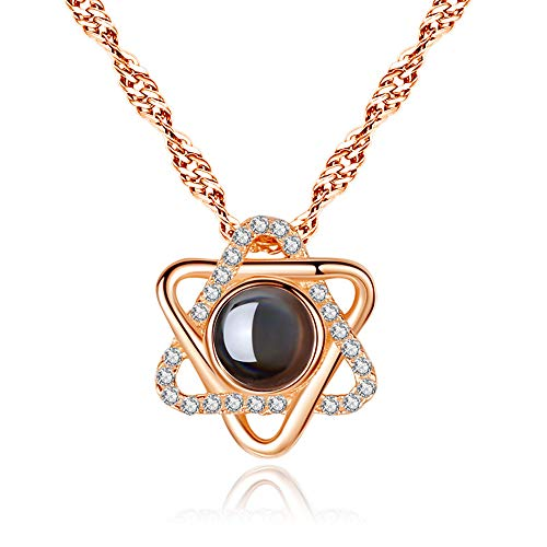 925 Sterling Silver Freshwater Pearl Necklace Pendant,Infinite Sterling Silver Pendant Necklace for Women (Six-Star(Rose Gold)) from WMAO