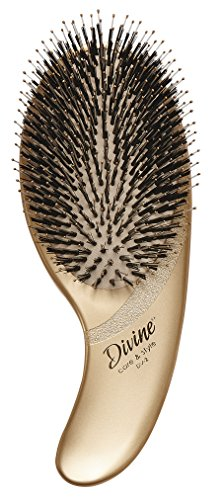Olivia Garden DivineTM Care & Style Hair Brush - Ergonomic Paddle with 100% Boar & Nylon Bristles for Daily Care on All Hair - Brush Hair Professional Style