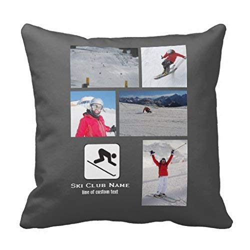 Skiing Club Ski Team Skier Custom Photo Collage Throw Pillow Case 18