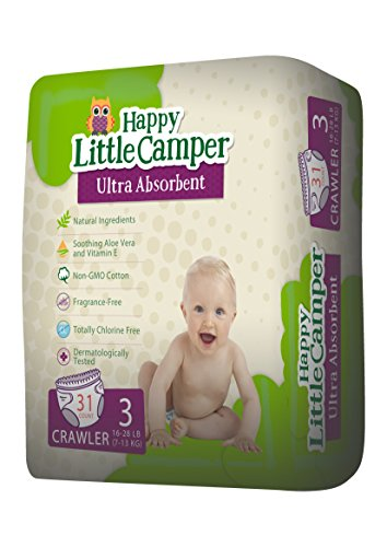 Happy Little Camper Ultra Absorbent Premium Natural Diapers, Size 3, 31 Count