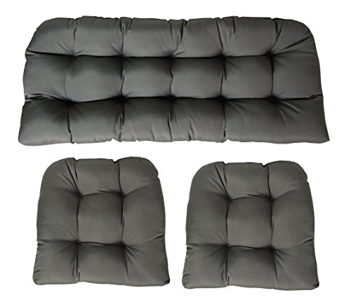 Sunbrella Canvas Charcoal Large 3 Piece Wicker Cushion Set - Indoor / Outdoor Wicker Loveseat Settee & 2 Matching Chair Cushions - Dark Grey (Cushions Outdoor Sunbrella Wicker Furniture)