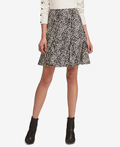 - DKNY White Womens Printed Flounce-Hem A-Line Skirt