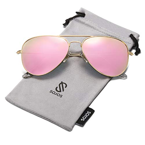 SOJOS Classic Aviator Polarized Sunglasses Mirrored UV400 Lens SJ1054 with Gold Frame/Pink Mirrored Polarized ()