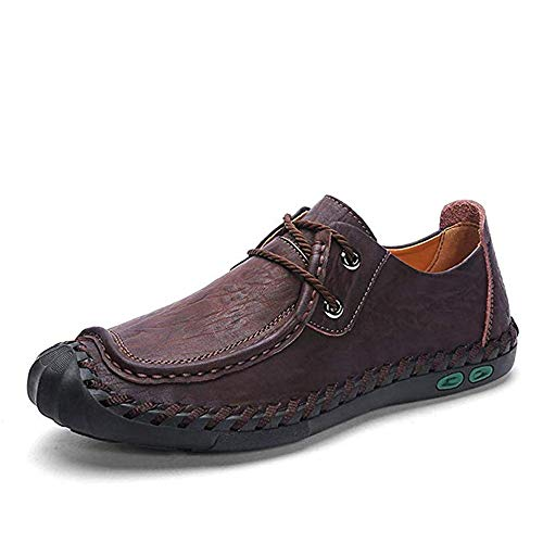 DRON TOOON Casual Men's Genuine Leather Penny Loafers Fashion Comfortable Boat Flats Driving Shoes (10.5, Brown)