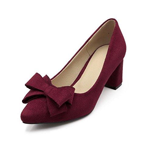 VogueZone009 Damen Spitz Zehe Mittler Absatz Ziehen auf Rein Pumps Schuhe mit Schleife Rot