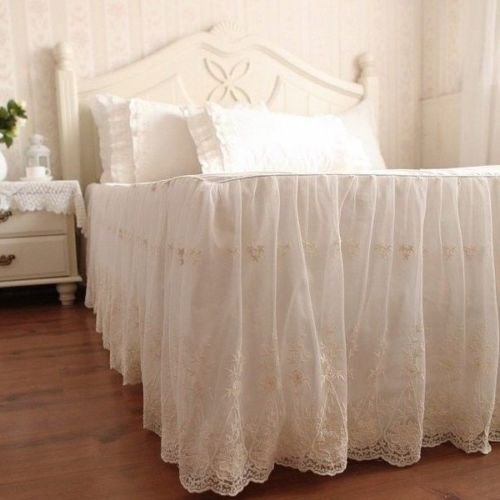 Swanleke Luxury and Elegant Romantic Ivory Two Layers Lace Cotton Bed Skirt 1301 (Cal King)