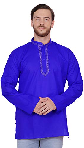 - SKAVIJ Men's Cotton Embroidered Short Kurta Indian Clothing (Medium, Blue)