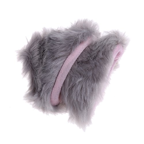 HS Cat Ears Anime Lolita Cosplay Fancy Neko Cat Ears Hair Clip Light Gray with Pink Inside 1pc