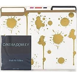 Cynthia Rowley File Folders, 3 Tab, 6 folders per package, Gold Assorted Patterns