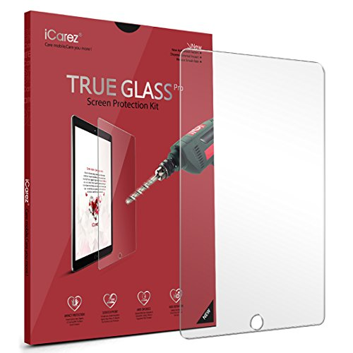 iCarez Tempered Glass Premium Screen Protector for Apple 9.7-inch iPad Pro/iPad Air 2/iPad Air/2017 New iPad Anti-Scratch 9H Easy Install with -