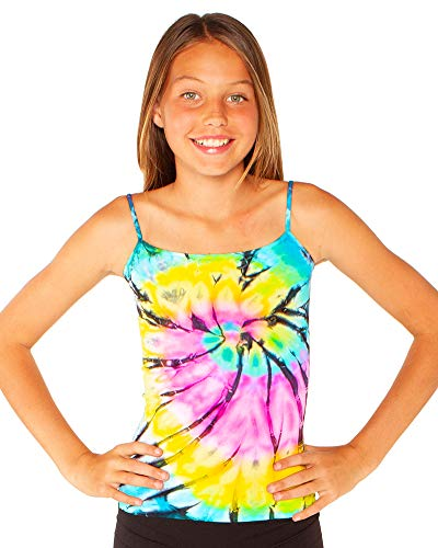 Malibu Sugar Girls (7-10) Swirl Tie Dye Full Cami One Size Pink/Yellow/Blue ()