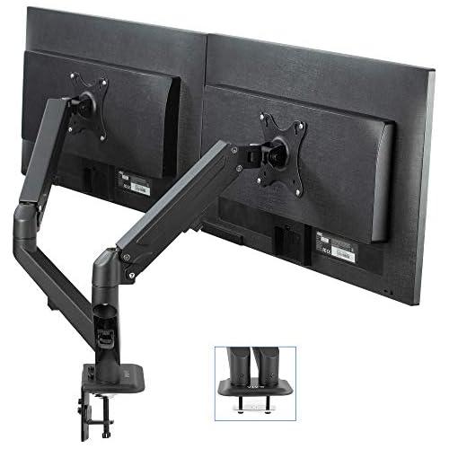 chollos oferta descuentos barato VIVO Soporte de escritorio para monitor LCD doble resistente totalmente ajustable se adapta a 2 o dos pantallas de hasta 27 pulgadas