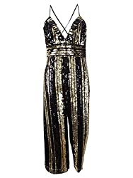 Gold Stripe Sequin Goldie Jumpsuit