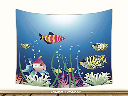 AmaUncle Durable Tapestry Wall Hanging, Aquarium Seascape with Colorful Tropical Fishes Bubbles Seaweed Marine Theme Decorative Living Room Bedroom Decoration Tapestry,60Wx40L Inch,Mattress Tableclo