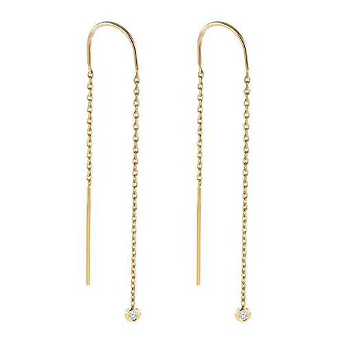 BallucciToosi Diamond Threaders Earrings-0.05 tcw Round Brilliant Cut-14 Karat Yellow Rose and White Gold Hanging Earrings-Nice Gift for Women