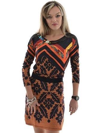 Desigual Roman Orange S Robe Taille YDHWbE9e2I