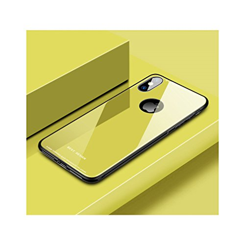Anyos iphoneX case,9H Tempered Glass Scratch-Resistant Hard Back Bumper Cover for Apple IPhonex 10 (Lemon Yellow) (Yellow Silicon Skin Case)