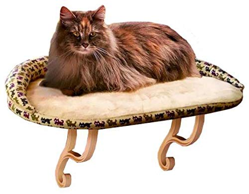 Deluxe Window Perch - K&H Pet Products Kitty Print Sill with Deluxe Bolster