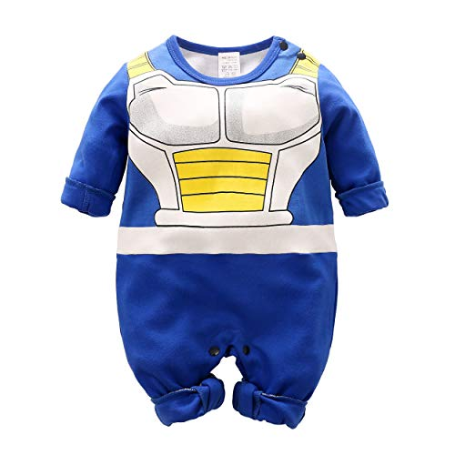 Beal Shopping Cosplay Long Sleeve Baby Boy and Girls Vegeta Rompers Costume Jumpsuit Baby Clothes, Blue2, 12-24 Monthes