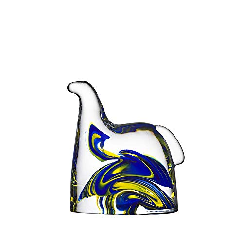 Kosta Boda Swedish Horse Blue and Yellow Sculpture