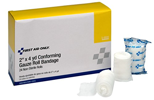 First Aid Only 5-6600 Stretch Gauze Bandage, 4-Yard Stretched Length x 2-Inch Width (Box of 24) -