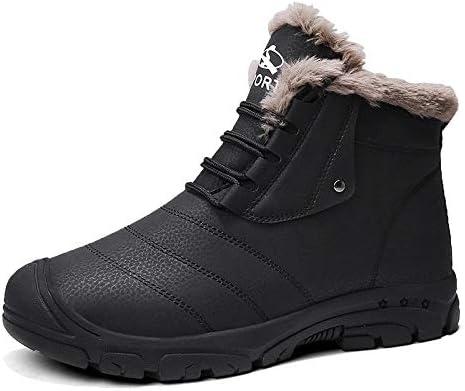 メンズ暖かいウールの快適インナー高い靴ノンスリップ摩耗ゴム底スタイルの屋外の雪のブーツまで快適な防水アッパーレース (色 : 黒, サイズ : 25.5 CM)