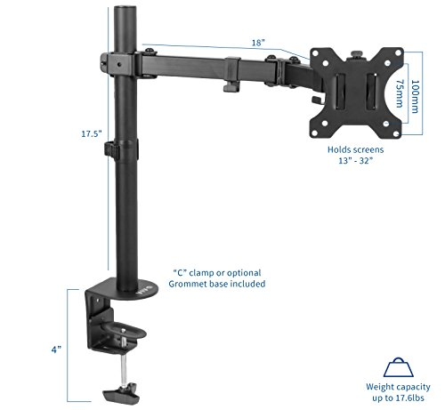 VIVO Full Motion Single VESA Computer Monitor Desk Mount Stand with Articulating Double Center Arm Joint   for 13'' to 32'' Screens (STAND-V101) by VIVO (Image #1)