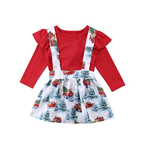 2PCS Toddler Kids Baby Girls Christmas Outfits Long Sleeve Romper+Suspender Skirt Set 3-4 Years Red