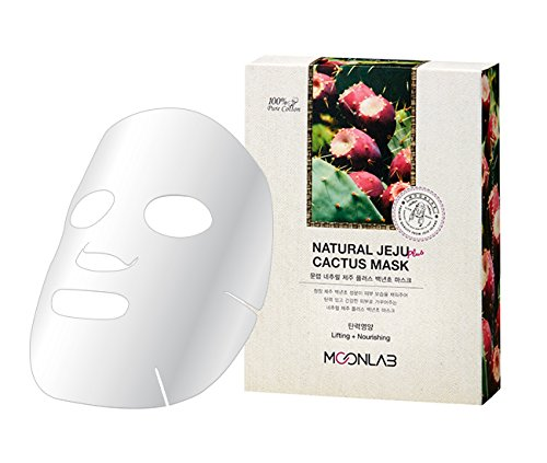 [MOONLAB] NATURAL JEJU PLUS CACTUS SHEET MASK - Delivers Intensive Hydrating Benefits and Improve Skin Elasticity With Cactus Fruit Extract and Collagen, 100% Pure Cotton Sheet, 22ml Pack of 10pcs
