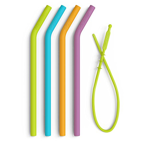 Premium Food Grade Reusable Silicone Straws + Cleaning Tool - Lab Tested, BPA Free Drinking Straws - Long Length, Wide Diameter Smoothie Straws for 20oz or 30oz Tumbler - Flexible Safe Straws for (Chew Straws)