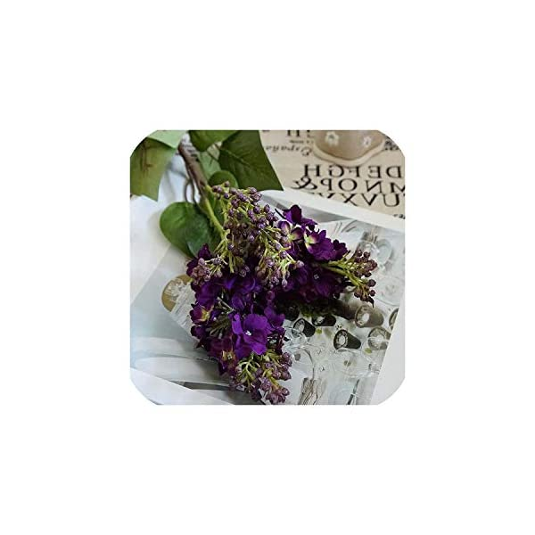 Bling-Bling Case Silk Lilac Fake Flowers Home Year Decoration Accessories Wedding Party Bride Bouquet DIY Material Artificial Flowers,Dark Purple