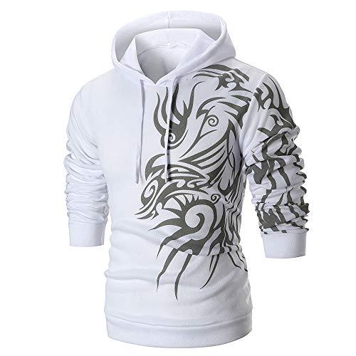(Mens Kung Fu Dragon Printed Long Sleeve Hoodie Pullover Sweatshirt Outwear Tops White)