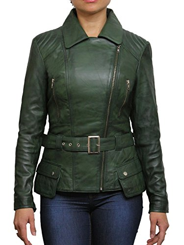 Brandslock Vintage Womens Classic Leather Biker Stylish Jacket Designer Look BNWT (24, Olive)
