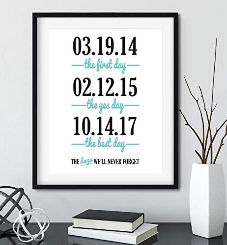 The First, Yes, and Best Day, Important Dates Sign with Black Frame Available (Best Gift For Husband On First Wedding Anniversary)