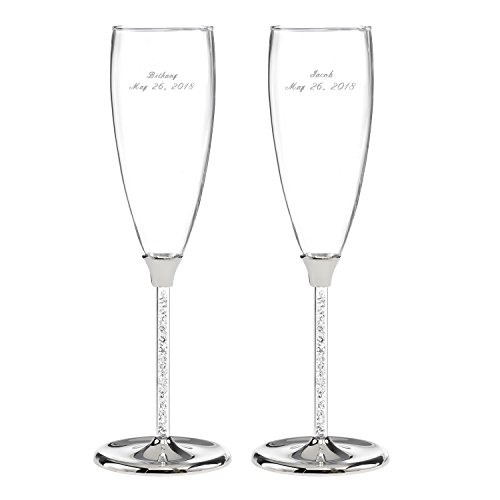 Glittering Beads Flutes (Personalized Glittering Beads Champagne Flutes - Canopy Street - Custom Engraved Set of 2 (10053P))
