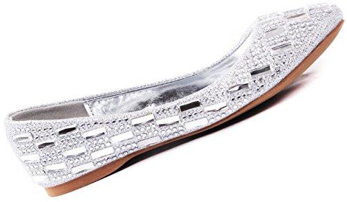 Julie Crystal Gem Sparkle Rhinestone Glitter Mesh Loafer Ballet Flat Dress Shoes Silver