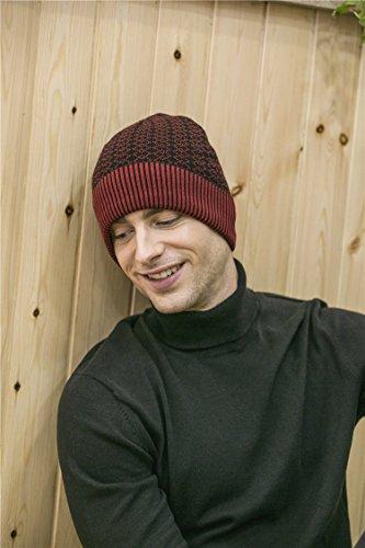 Beanie Rojo cráneo punto nacional para hombres forro de de lana de BaronHong sombrero patrón 4O6XwxA