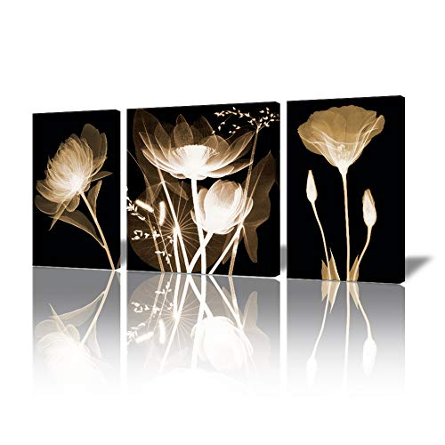 Transparent Flowers Picture Prints on Canvas, Wall Artwork Painting( 3 Pieces