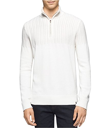 Calvin Klein Men's Quarter Zip Boucle Cable Mock Neck Sweater, MACERATA, Large (Mock Quarter Sweater Zip)