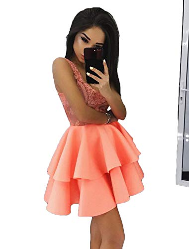 Scarisee Women's V-Neck Lace Short Homecoming Prom Dresses Tiers Party Gowns 2018 Coral Custom Size