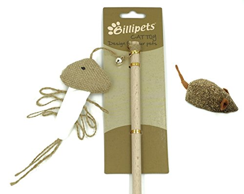 Billipets Cat Toys, Set of Natural Wooden Wand Teaser Sisal Squid Cat Toy and 100% Compressed Catnip Cat Toy Mice
