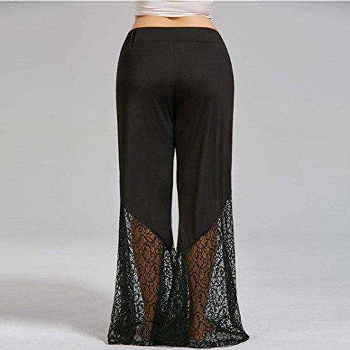 High Abbigliamento Nero Yoga Estivi Pantaloni Lunghe Pantaloni Elastica Elegante Pantaloni Palazzo Moda Tempo Ragazza Vita Waist Cucitura Baggy Colpo Pantaloni Libero Chic Donna Pizzo YBqgB