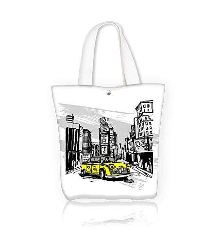 Canvas Tote BagYellow Cab In New York Hanbag Women Shoulder Bag Fashion Tote Ba W15xH14xD4.7 INCH (Best Violin Shop In New York)