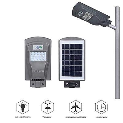 MGOGO Solar Street Light Outdoor, 20W Super Bright Solar Power LED Street Lights Outdoor Dusk to Dawn with Motion Sensor, Area Lighting Courtyard Deck Night Lights (Bright Light)