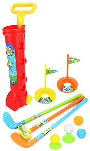 Lil Club - Toy Golf Set for Children Kid's Lil Golfers Toy Golf Play Set w/ 4 Balls, 3 Clubs, 2 Practice Holes, 2 Flags, 2 Tees (Colors May Vary)