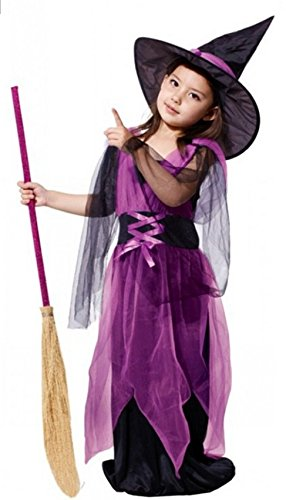 Which Witch Costume (HalloweenCostumeParty Witch Costume Purple For Toddler & Kids Girls (S(6))