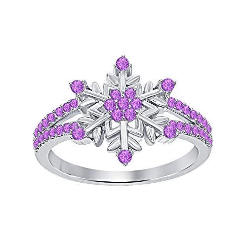 (Womens 14K White Gold Plated Round Amethyst Split Shank Flower Design Snowflake Ring 925 Sterling Silver)