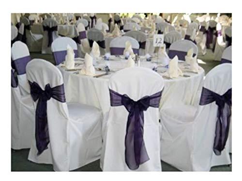 SPRINGROSE 50 White Polyester Standard Round Top Banquet Wedding Chair ()