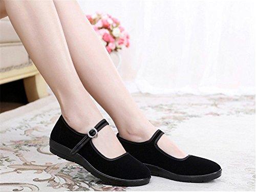 Coton Noir Mary Jane Danse Plat Vieux Beijing Tissu Chaussures De Marche Pour Les Femmes Noires